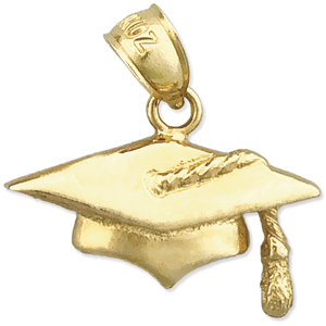 14k gold graduation cap with tassel charm
