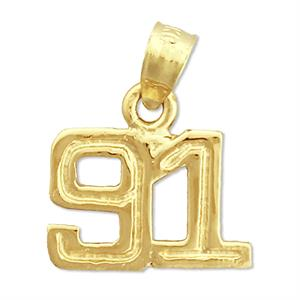 14k yellow gold high polish finish number charm