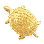 14k gold box turtle charm pendant slide
