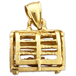 14k gold 3d lobster trap cage charm