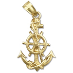 14k gold ship wheel and anchor charm