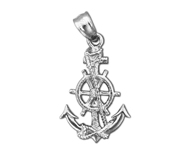 925 sterling silver ship wheel and anchor charm