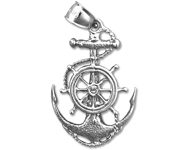 925 sterling silver sailor rope, ship wheel and anchor charm pendant