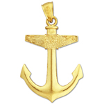14k gold mariner ship anchor charm pendant