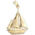 14k gold ketch sailboat charm pendant