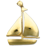 14k gold single sloop sailboat charm pendant