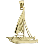14k gold catamaran sailboat charm pendant