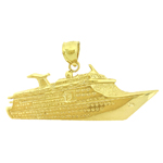 14k gold cruise ship charm pendant