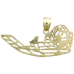 14k gold airboat charm pendant