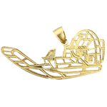 14k gold cut-out airboat charm pendant