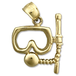 14k gold scuba snorkel with mask charm