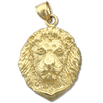 14k gold 24mm lion head charm pendant