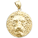 14k gold lion head charm pendant medallion