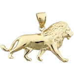 14k gold 38mm lion charm pendant