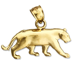 14k gold mountain lion cougar charm pendant
