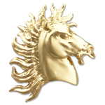 14k gold horse head with wild mane slide