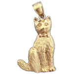 14k gold cat wearing a bow charm pendant
