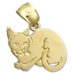 14k gold house cat charm