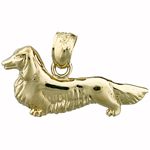 14 Karat Gold Long Haired Dachshund Charm
