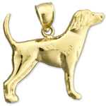 14k gold english pointer charm pendant
