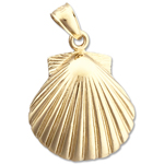 14k gold 20mm scallop shell charm pendant