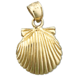 14k gold 14mm scallop shell mini charm