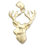 14kt gold deer head with antlers charm pendant