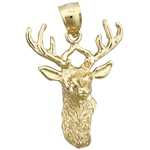 14k gold stag head with antlers charm pendant