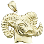 14k gold rams head charm pendant