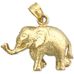14k gold elephant with long trunk charm