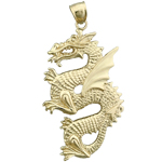 14k gold serpent dragon charm pendant