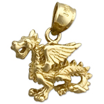 14k gold 3d mythical winged dragon charm