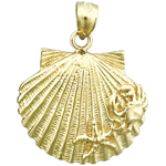 14k gold scallop shell with crab and starfish charm pendant