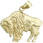 14k gold american bison charm pendant