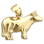 14k gold farm cow charm