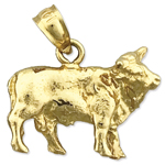 14k gold 3d cow charm