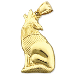14k gold howling coyote charm pendant