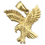 14k gold hunting eagle charm pendant