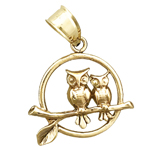 14k gold two owls perched encircled charm pendant