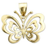 14k gold 27mm butterfly charm pendant