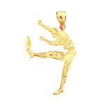 14k gold football punter charm pendant