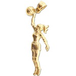 14k gold female basketball player charm pendant