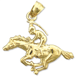 14k gold race horse and jockey charm pendant