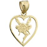 14k gold tinkerbell in heart charm