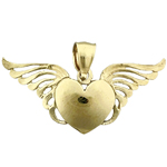 14k gold heart with angel wings charm pendant