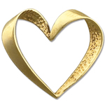 14k gold floating heart charm pendant