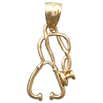 14k gold medical stethoscope charm