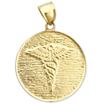 14k gold caduceus medical charm medallion