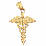 14k gold caduceus medical charm pendant
