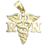 14k gold registered nurse rn caduceus charm pendant
